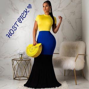 Dresses & Skirts - Maxi Color Stretch Mermaid Black Blue Yellow Dress